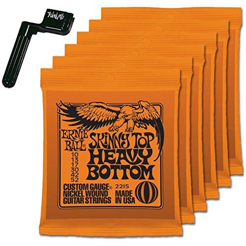 6 Sets of Ernie Ball 2215 Skinny Top Heavy Bottom 10-52 Guitar Strings FREE Peg Winder