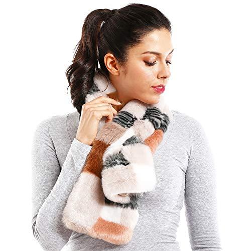 Me Plus Women Fashion Winter Soft Faux Fur Pull Through Wrap Collar Scarf (Coral-Multi Colored)