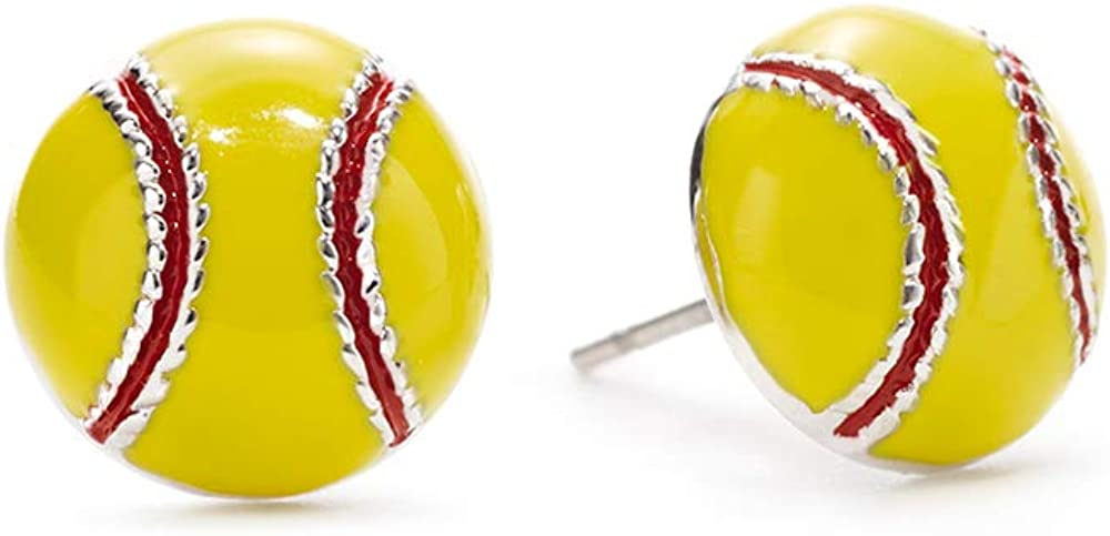 GIMMEDAT Softball Enamel Stud Charm Earrings Jewelry Girls Women Player Mom Fan Gift