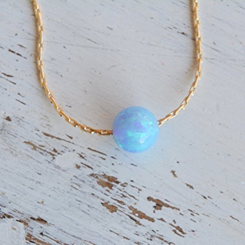 Blue Opal Ball Necklace 14k Gold Filled delicate Chain Opal Bead Necklace 16