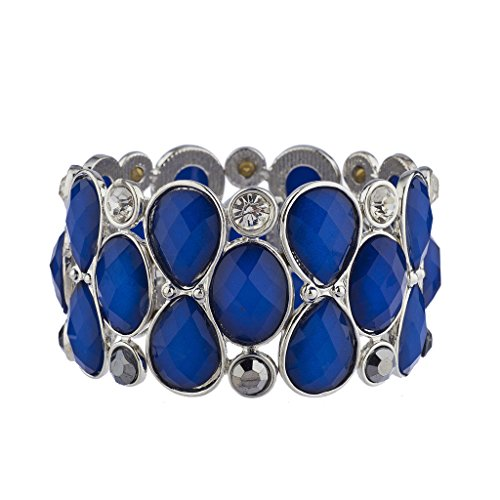 Lux Accessories Silver Tone Royal Blue Acrylic Teardrop Stone Stretch Bracelet