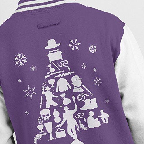 Purple Silhouette Indiana Varsity Christmas Men's Jones Tree white Jacket qRwzRf