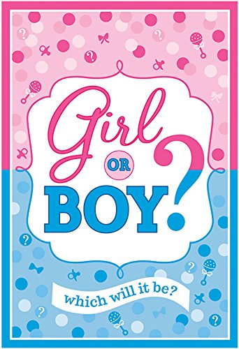 Amscam 8 Count Reveal Party Girl Or Boy? Invitations, 6 1/4