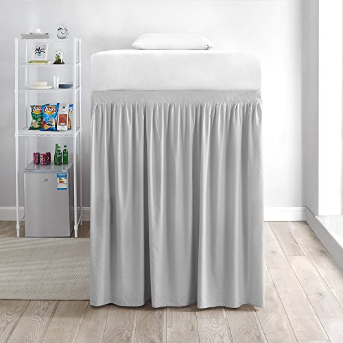 DormCo Extended Bed Skirt Twin XL (3 Panel Set) - Glacier Gray