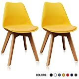 Krei Hejmo Plastic Dining Chair Side Chair with Wood Base – Set of Two (2) (Yellow) For Sale