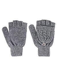 Girl Women Knitted Wool Blend Convertible Winter Fingerless Gloves w/ Mitten Cover
