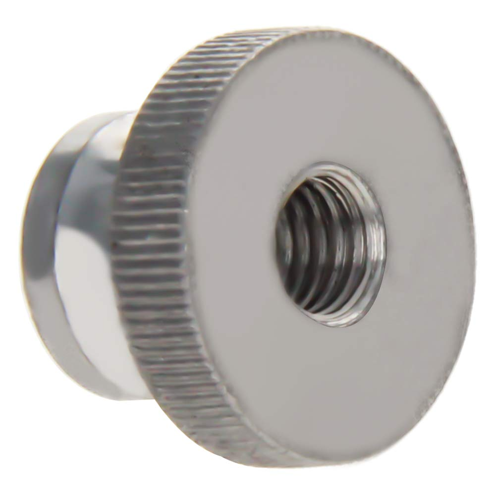 MroMax Knurled Thumb Nuts M5 Through Hole Round Knobs with Whitewash 304 Stainless Steel Straight Flower Silver Tone 4pcs
