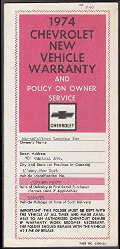 Chevrolet Impala Warranty - 1974 Chevrolet New Vehicle Warranty Impala Station Wagon