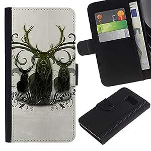 Samsung Galaxy S6 / SM-G920 , la tarjeta de Crédito Slots PU Funda de cuero Monedero caso cubierta de piel ( Deer Antlers Majestic Animal Northern)