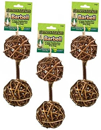 Chew Barbell - Ware Manufacturing (3 Pack) Natural Woven Willow Small Pet Barbell Chew Toys, Large