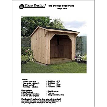 Amazon Com 8 X 8 Firewood Storage Shed Project Plans Design