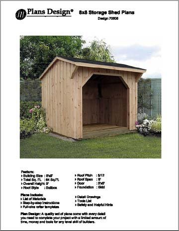 8' X 8' Firewood Storage Shed Project Plans-Design #70808 Shed Plans
