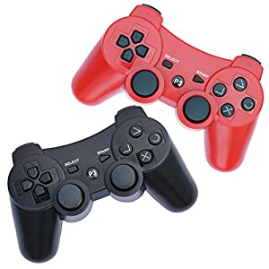 FSC Pack of 2 Mixed colors PS3 Wireless Remote Controller GamePad for use with PlayStation 3 (Black/Red)