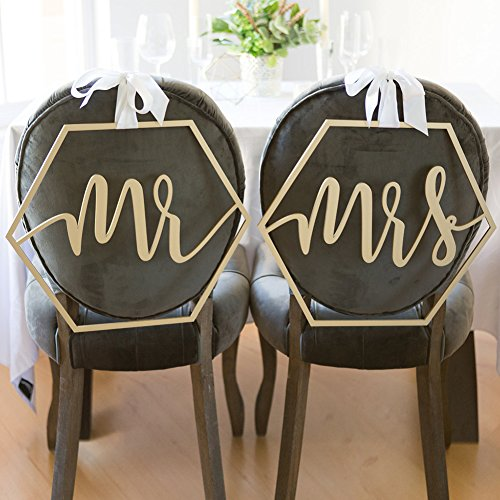 Wedding Mrs Sign Mr Decorations Photo Signs and Mrs Chair Bunting Cards Props Photo Booth Favours Chairs for Weddings Party Photography Decoration qsbai