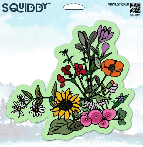 Printed Modern Poppies (Squiddy Wildflowers Cute - Vinyl Sticker for Car, Laptop, Notebook (4