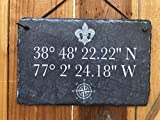 Sassy Squirrel Longitude Latitude Slate House Sign - Home Address Plaque