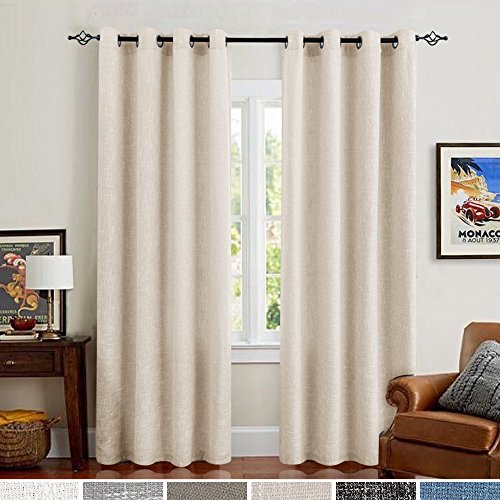 Flax Color (Linen Curtains for Bedroom Room Darkening Drapes for Living Room Burlap Flax Window Curtains 84 inch Ivory 2 Panels)
