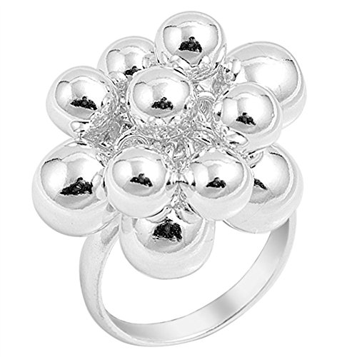 High Polish Ball Cluster Fashion Ring New .925 Sterling Silver Band Size (High Polish Ball)