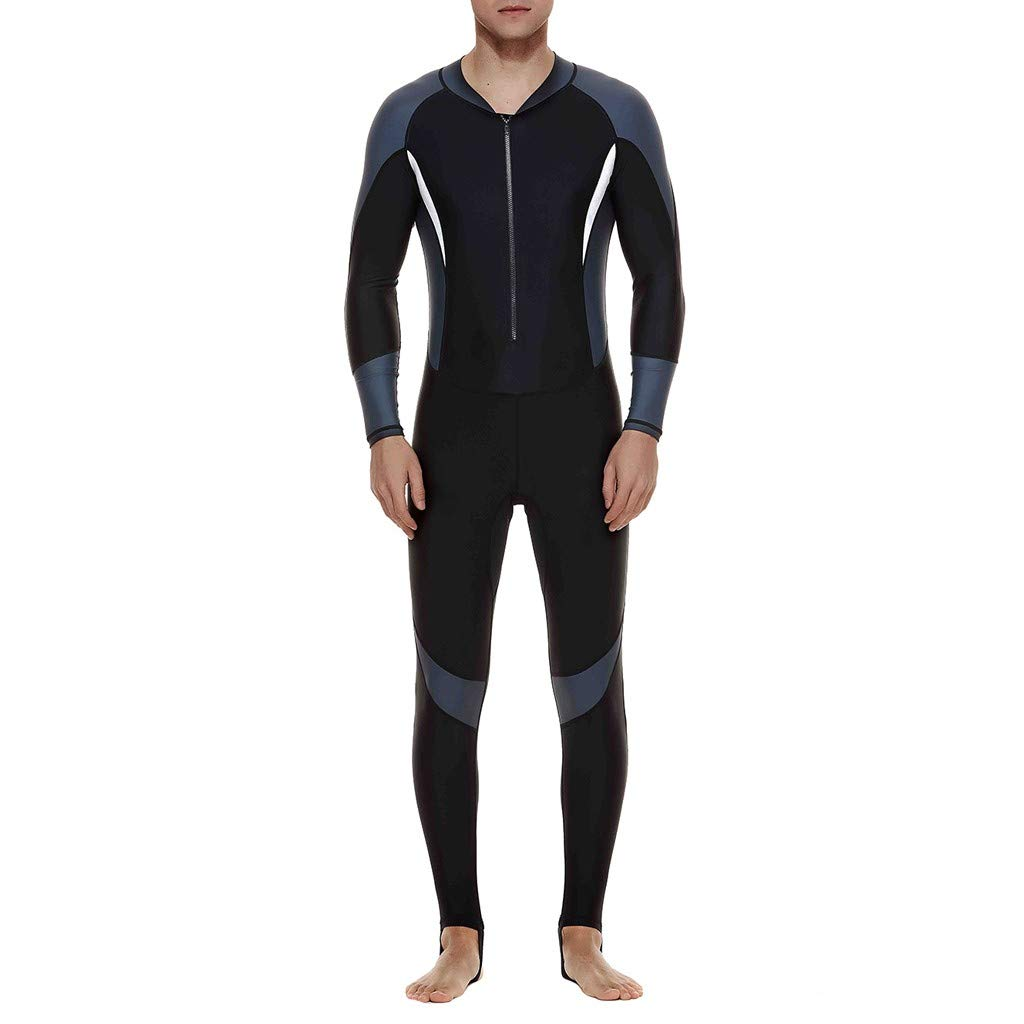 Colmkley Men Thin Stretch Full Body Wetsuit Surf Diving Swimwear Sun Protection Gray by Colmkley Sun Protection Clothing