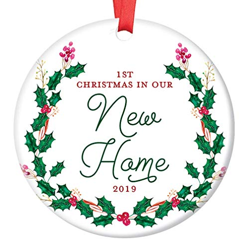 New House Ornament 2019, 1st Christmas in Our New Home Dated Year, First Homeowners Ceramic Present Congratulations Keepsake Real Estate Agent 3