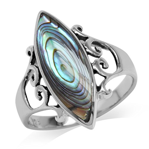 (Abalone/Paua Shell Inlay White Gold Plated 925 Sterling Silver Filigree Ring Size)