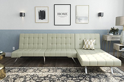 DHP Emily Sectional Futon Sofa with Convertible Chaise Lounger, Vanilla Faux Leather