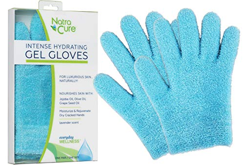 NatraCure Moisturizing Gel Gloves - (For dry hands, dry skin, dry cuticles, eczema) - Colors: Aqua or Lavender