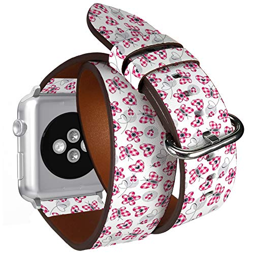 Compatible with Small Apple Watch 38mm & 40mm Double Tour Roll Leather Watch Wrist Band Strap Bracelet with Stainless Adapters (Plaid Hearts Daisies Butterfly Ladybugs)