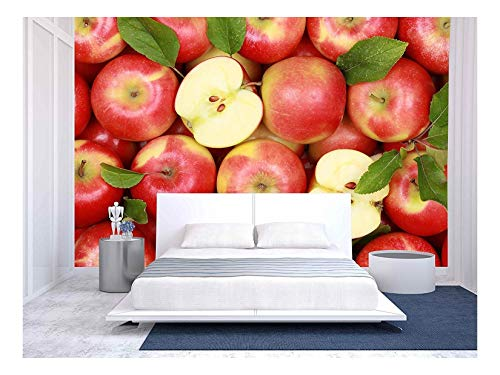 wall26 - Group of Red Apples with Their Leaves - Removable Wall Mural | Self-Adhesive Large Wallpaper - 66x96 ()