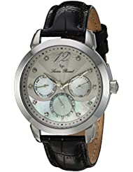 Lucien Piccard Womens Rivage Quartz Stainless Steel and Leather Casual Watch, Color:Black (Model: LP-40038-...
