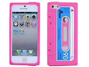 Retro Cassette Series Tape Silicone Soft Case Cover fit for Apple iPhone 5 Hot Pink