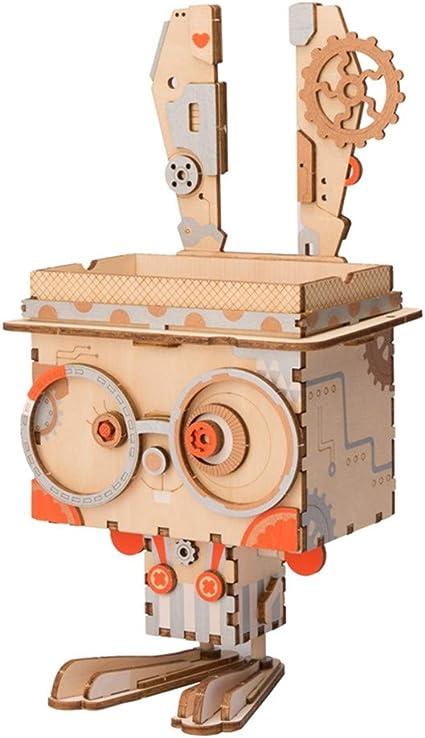 3D Robot de madera Juego de rompecabezas Caja de almacenamiento de ...