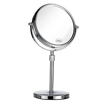 Kimkoo 8 Inch Tabletop Makeup Mirror LARGE Swivel Vanity Mirror 2 Sided X7  Magnification, Adjustable