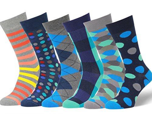 Easton Marlowe Men's Colorful Patterned Dress Socks - 6pk #21, neutral colors - 43-46 EU shoe -