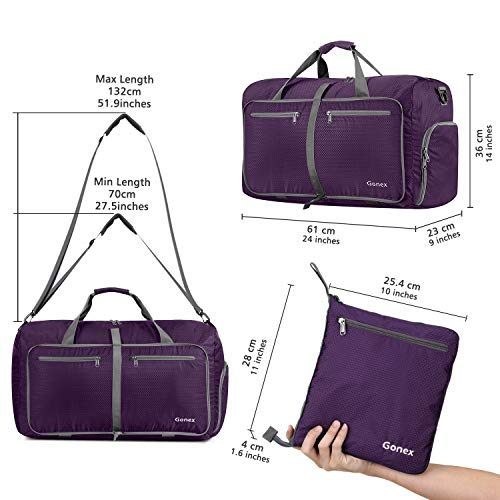 Gonex 60L Foldable Travel Duffel Bag Water & Tear Resistant, Purple