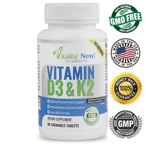 Best Vitamin D3 2000 IU + K2 - Optimized Absorption in Best Form MK7 for Strong Bones & Healthy Heart - All Natural - Cherry Flavor - Non-GMO - 90 Chewable Tablets - 3 Month Supply!