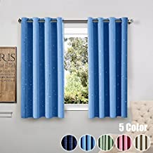 WINYY Star Printed Modern Simplicity Blackout Short Curtains Grommet Top Kids Bedroom Living Room DIY Shade Drape Hot Stamped Sheer Voile Curtain Color Blue,1 Panel W39 x H47 inch