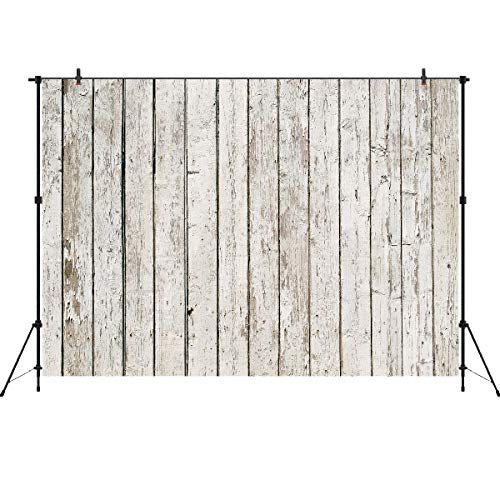 Wood Backdrops for Photography 7x5ft Vinyl White Wooden Wall Photo Background Studio Props Events Decoration ()