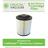 Replacement for Craftsman Filter Cartridge Fits 5 to 32 Gallon Wet/Dry Vac, Compatible With Part # 17816 & 17912, By Think Crucial