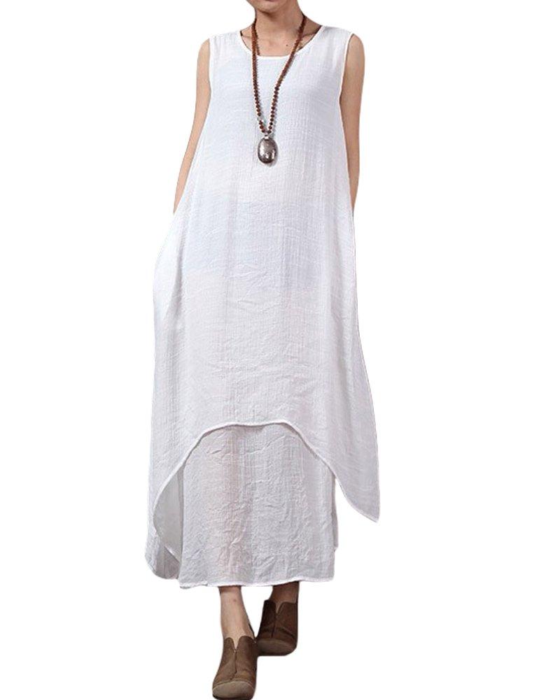 Romacci Women's Boho Casual Irregular Linen Maxi Dresses Vintage Loose Sleeveless A Line Long Dress