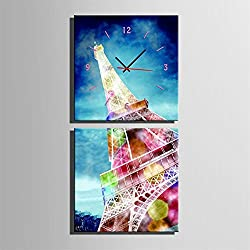 Ysayc Eiffel Tower Wall Clock Frameless Living Room Restaurant Decoration Canvas Painted Wall Clock, 6060cm