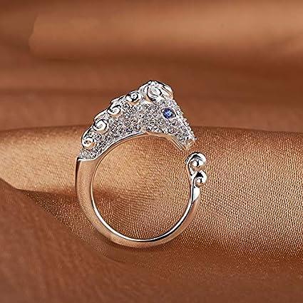 Hosaire Anneau de Zodiaque Bague Femme Mode Forme danimal B/étail Brillant Strass Diamant Bague R/églable Bijoux Cadeau Anniversaire Saint-Valentin