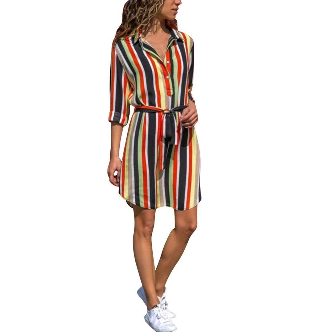 Yanhoo Damen Herbst Streifen Print Kleid Sexy Böhmen Langarm Empire Minikleid Hemdkleid Blusekleid Kleidung