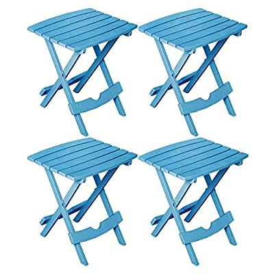 Adams Manufacturing 88500-16-3735 Plastic Quik-Fold Side Table Pool Blue, Set of 4 + Free 84 inch Round Tablecloth