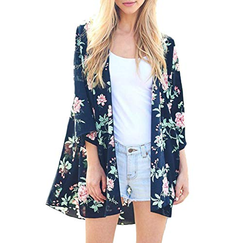 (FEDULK Womens Cover Up Swimsuit Floral Print 3/4 Sleeve Open Front Cardigan Loose Casual Beachwear(Navy, US Size XS = Tag S))