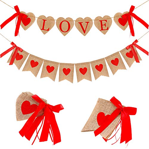 2 Pieces Valentine's Day Burlap Banner Rustic Love Heart Banner Hanging Garland Decoration with Red Bow Ribbons for Valentines Wedding Anniversary Birthday Party Supplies from Boao
