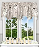 Cheap Ellis Curtain Chatsworth Traditional Floral Design (Lined Scallop Valance, 70 x 17″, Grey)