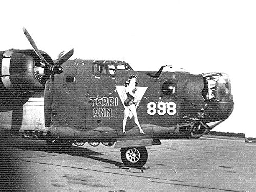 Home Comforts Laminated Poster B-24 with Nose Art Terri Ann of The 489th Bombardment Group, RAF Halesworth, England. Vivid Imagery Poster Print 24 x 36