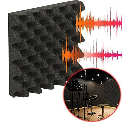 (12 Pk) 2.5''x12''x12'' Soundproofing Foam Acoustic Eggcrate Tiles Studio Foam Sound Wedges by IZO All Supply