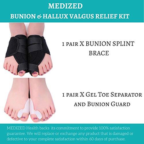 MEDIZED Quality Bunion Splint Pad Toe Hammer Separators Hallux Valgus Protector Bunion Corrector bunion Pads Toe Spacer Bunion Splint Straightener Bunion Bootie by MEDIZED (Image #1)